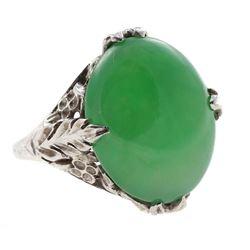 Jadeite Jade and 18k gold ring
