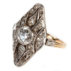 Vintage diamond and platinum-topped 14k gold ring