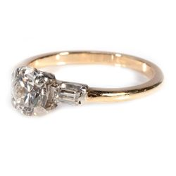 Diamond and 14k bi-color gold engagement ring