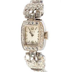 Vintage diamond and platinum ladies wristwatch