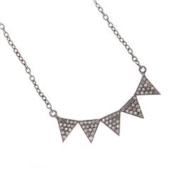 Diamond and blackened silver necklace
