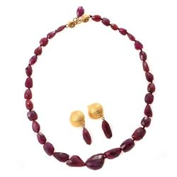 Faceted ruby bead, gilt silver necklace & earrings set