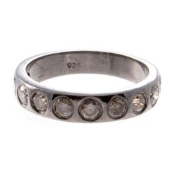 Diamond and blackened silver band