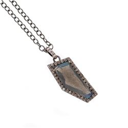 Labradorite, diamond, oxidized silver pendant & chain