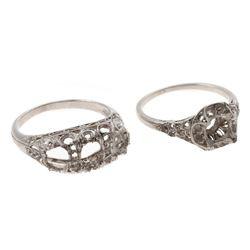 Two Art Deco platinum semi-mount rings