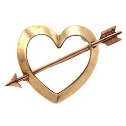 Retro 14k pink/yellow gold heart & arrow brooch
