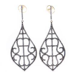 Pair of diamond, blackened silver & 18k gold earrings