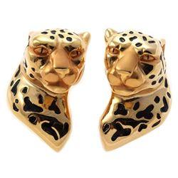 Charles Garnier 18k gold, enamel leopard earrings