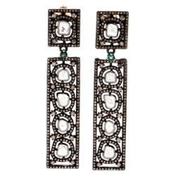 Diamond, blackened silver & 14k gold drop earrings