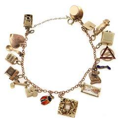 14k rose gold charm bracelet