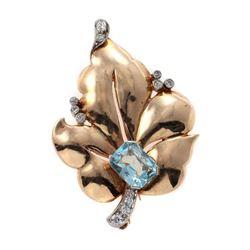 Retro aquamarine, diamond and 14k gold brooch