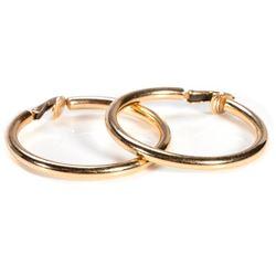 Pair of 14k gold hoop clip-earrings