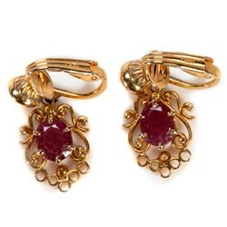 Pair of ruby and 14k gold earrings
