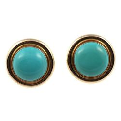 Pair of turquoise and 14k gold earrings