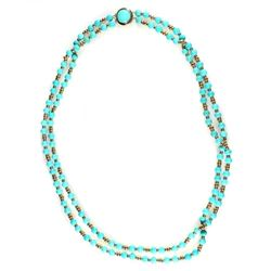 Turquoise and 14k gold double strand necklace