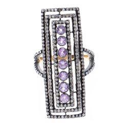 Pink sapphire, diamond, oxidized silver, 18k gold ring
