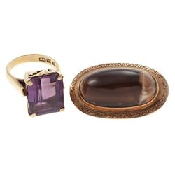 Gem-set, gold ring and brooch