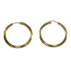 Charles Garnier 18k gold hollow hoop earrings, French