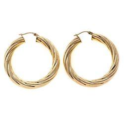 Pair of 14k gold hollow hoop earrings, Italy