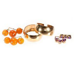 Pair of interchangeable, gem-set gold hoop earrings