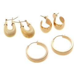 Three pairs of 14k gold earrings