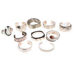 Ten sterling silver bangle bracelets