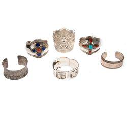 Six stone-set and silver bracelets
