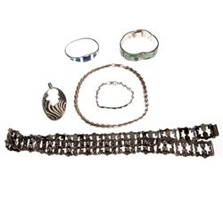 Collection of stone-set, sterling silver jewelry, Mexico
