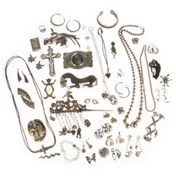 Collection of silver and metal jewelry & accessories