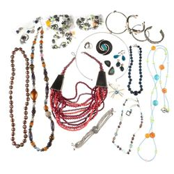 Collection of beaded, stone, silver & metal jewelry