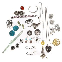 Collection of gem-set and silver jewelry