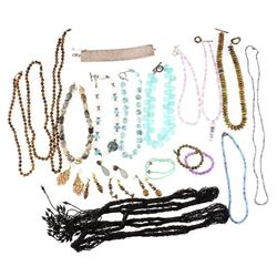 Collection of beaded stone silver and metal jewelry