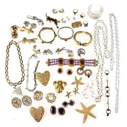Collection of costume and rhinestone jewelry