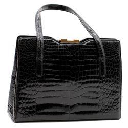 Vintage Gucci black alligator handbag