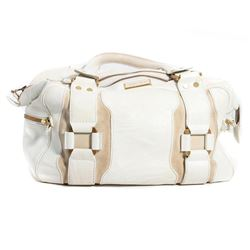 Jimmy Choo Mahala white leather satchel bag