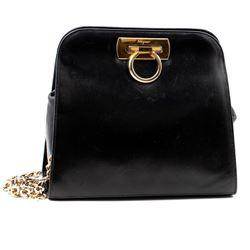 Vintage Ferregamo black leather bag with chain strap