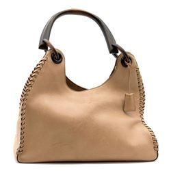 Gucci beige leather handbag with wood handle