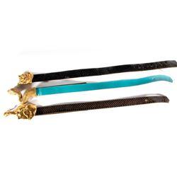 Three belts & brass belt buckles by C. Ross