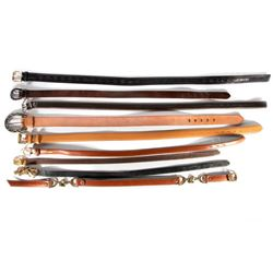Collection of 9 leather belts