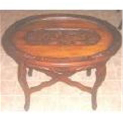 Vintage Oval Glass Tray Top Coffee Table Carved 1073476