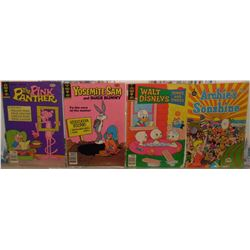 4 very old as is comic books Pink Panther Yosemite Sam Walt Disney Archie's Sunshine 1970's -bds