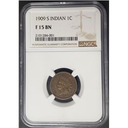 1909 S Indian Head Penny Cent NGC F15 BN