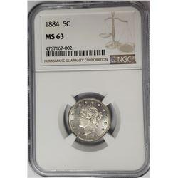 1884 5C Victory Nickel NGC MS63