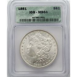 1881-P Morgan Silver Dollar ICG MS 64
