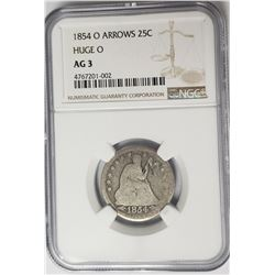 1854-O Arrows Huge O Seated Liberty Qrtr NGC AG3