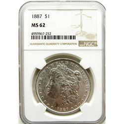 1887-P  Morgan Silver Dollar $ NGC MS 62