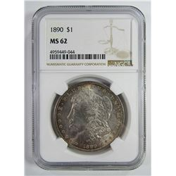 1890-P Morgan Silver Dollar $ NGC MS 62 Lightly To