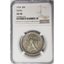 1934 Texas Commemorative Half Dollar NGC AU58
