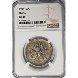1934 Texas Commemorative Half Dollar NGC XF45