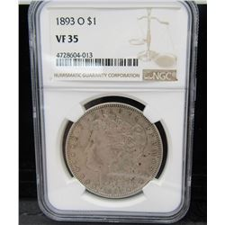 1893-O MORGAN DOLLAR NGC VF35